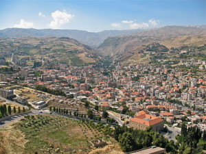 View of the town of Zahlé nestled amongst gently sloping hills in Lebanon