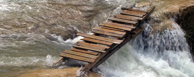Footbridge over fast-flowing water